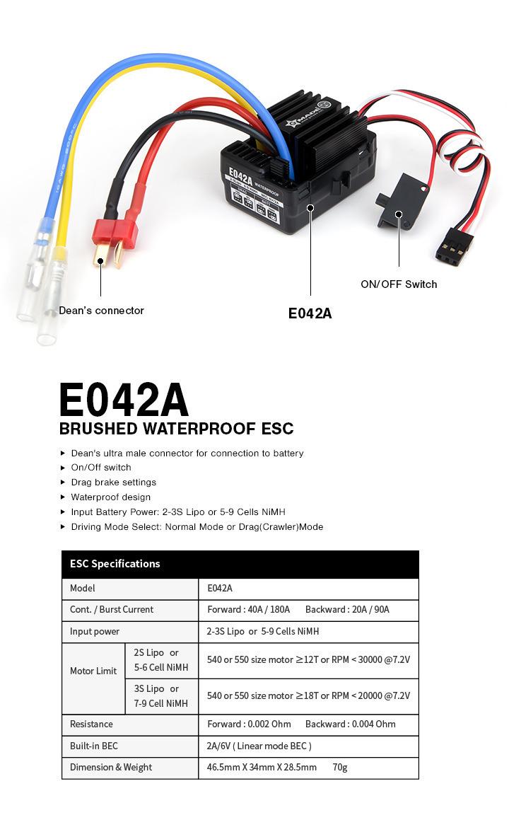 e042a 01 ESC ??????????? ?????? ?? ???? ???? Gmade E042A Brushed 40A Waterproof ESC GM60003