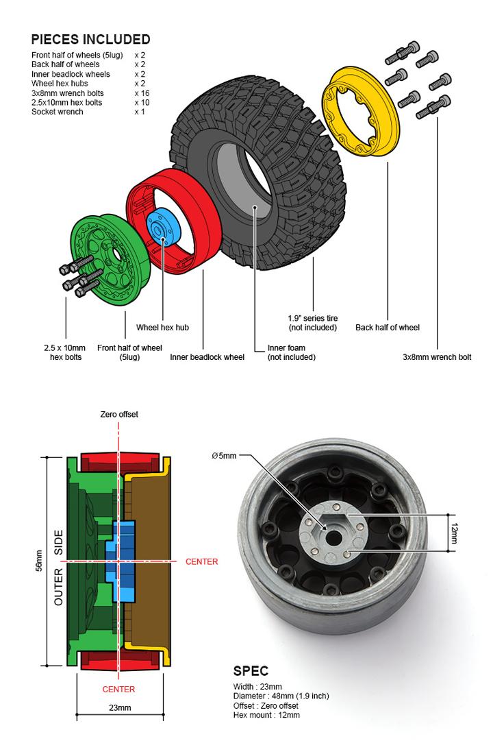 gm70344 3 1.9 AR01 5 Lug Aluminum beadlock wheels (2) GM70344